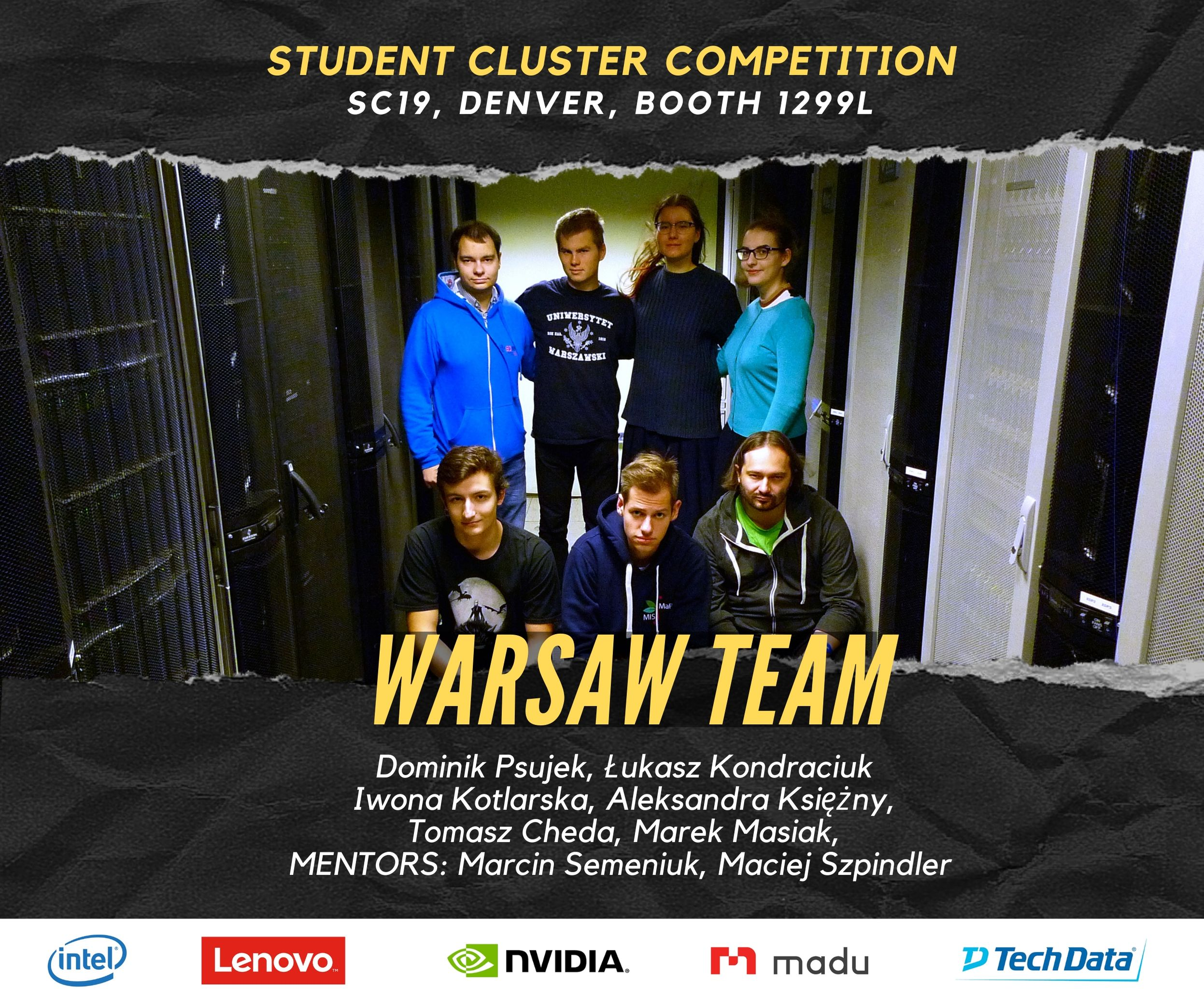 ICM University of Warsaw #SC19 Denver_Student_Cluster_Competition_WarsawTeam